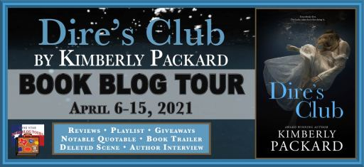 Book blog tour banner for Dire's Club by Kimberly Packard