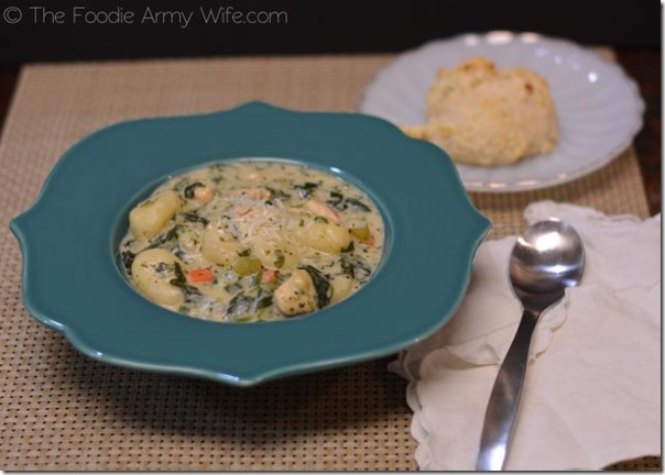 Chicken Gnocchi Soup with Drop Biscuits