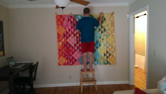 We hung our new quilt, made by the Amazing April.