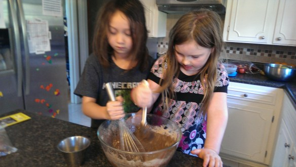 Making the cake.