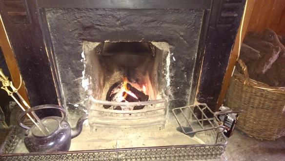It was rainy and cool enough for a peat fire in the cottages and restaurant.