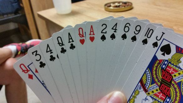 Paula and I took all 13 tricks in a game of spades. This was her hand.