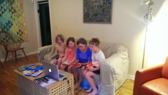 First nail polish, then video games...the things Nonni does for these grandkids.
