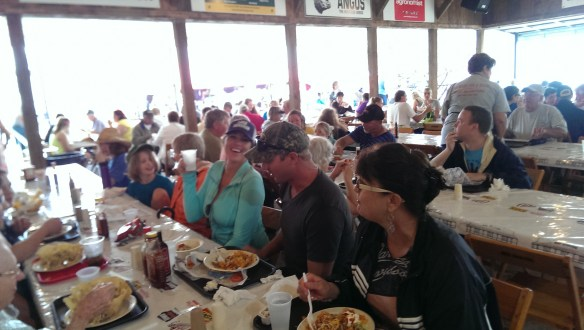 The Dining Tent was crowded, so we had to sit in a long row.