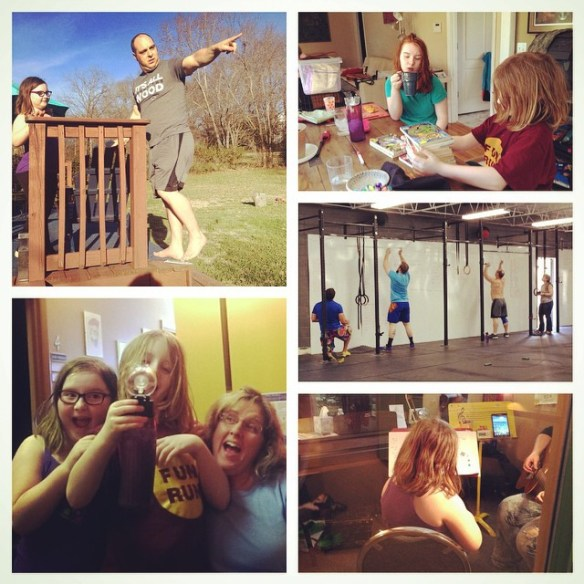 A little science experiment, CrossFit, music lessons, and silly fun time.