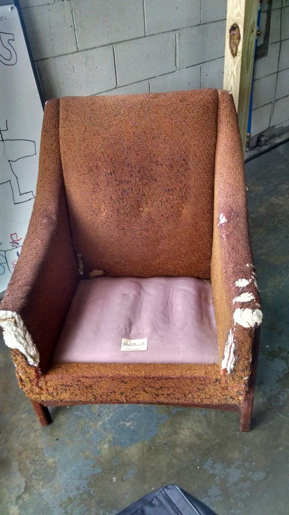 Beautiful lines, poor, tired body. The seat cushion disintegrated a few years ago.