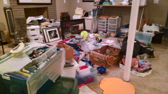 How the basement looked, but instead of a mess I see the memories that need to be organized.
