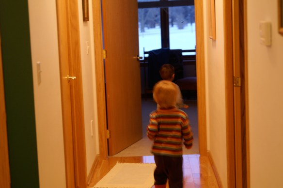 """The Buster chasing """"B"""" down the hallway."""