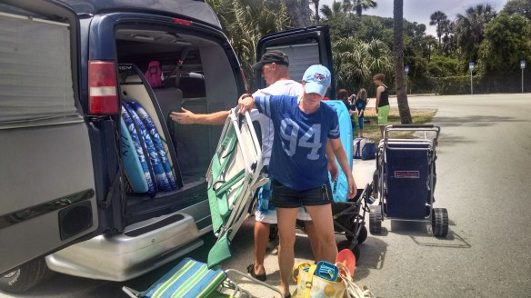Taking 10 people to the beach is a process.