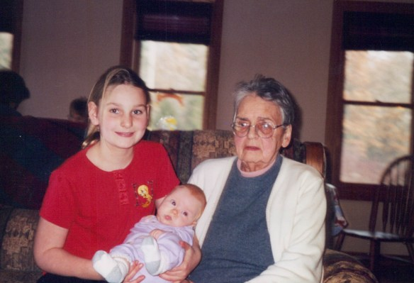 With Great Grandma Veryl and Cousin Liz.