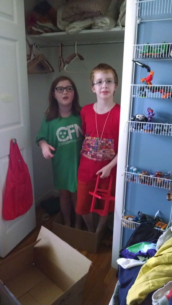 My fearless helpers...notice they are standing in a box...for protection.
