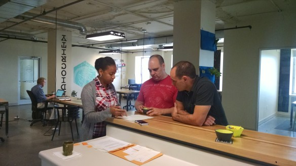 Two of our fearless leaders helping to shape future designs by answering questions from one of our interns.