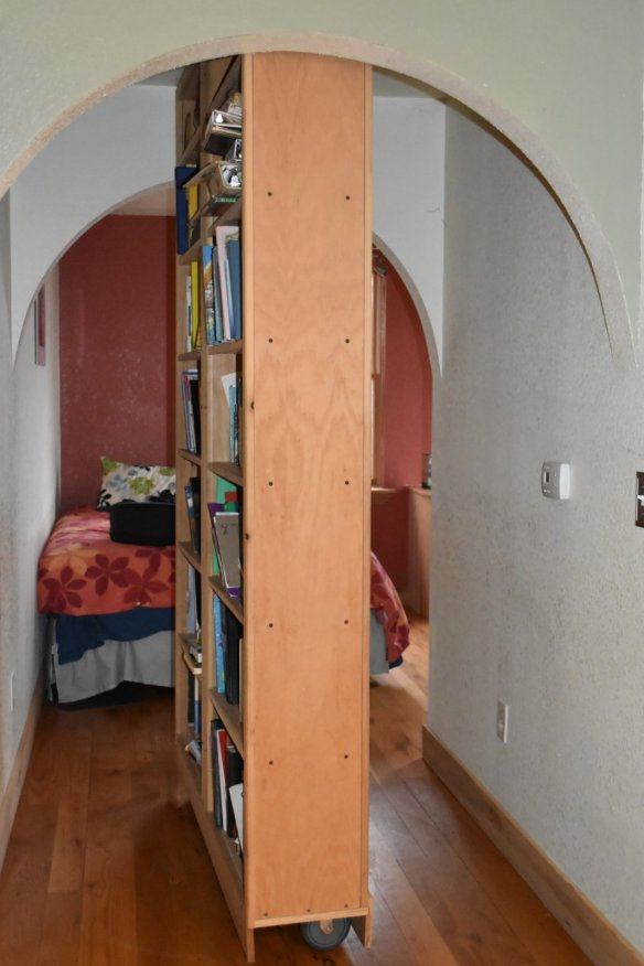 Swinging bookcases are cool!