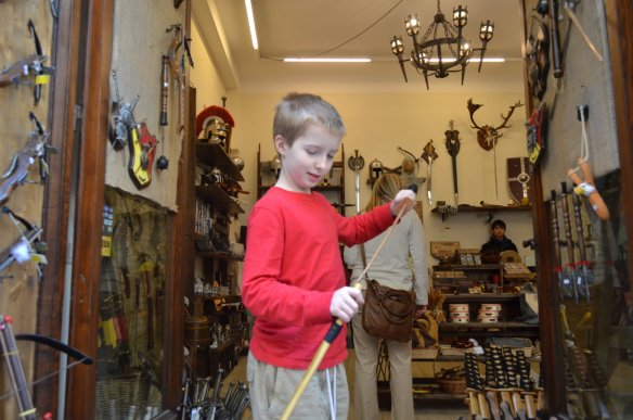 We learned our lesson about weapons in Ireland, but boy, Buster and Monkey were intrigued by this shop.