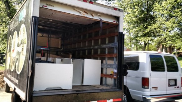 What a new kitchen looks like in the back of a truck.