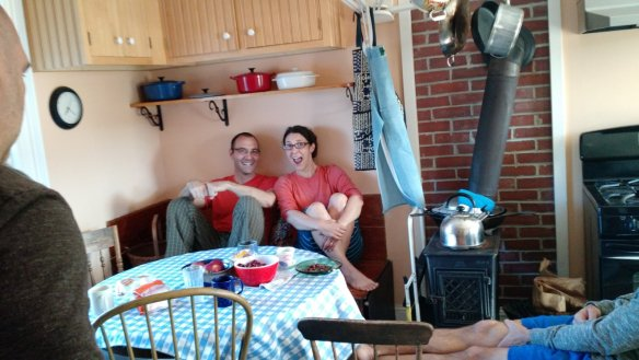 The kitchen bench was a happy meeting place.