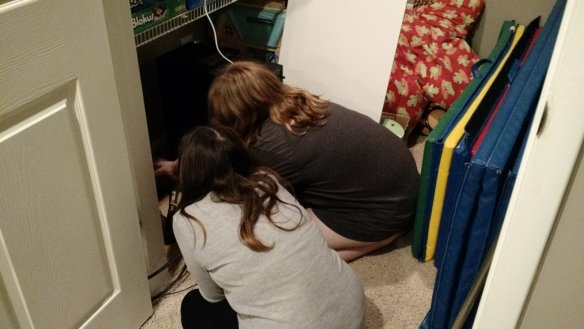 When your best friend wants to help with running wires.