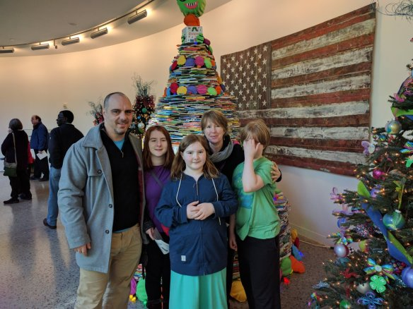 The book tree behind us is a Guinness record attempt for the tree made with the most books. Over 13K.