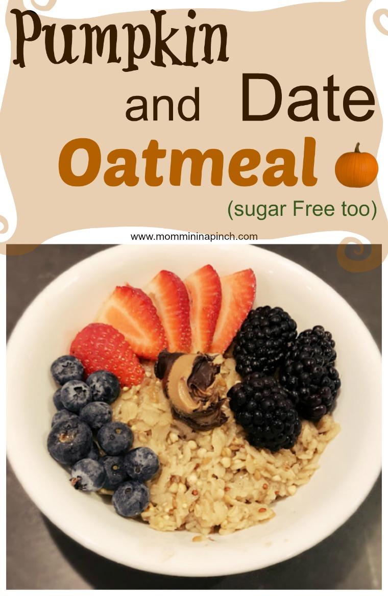 Sugar Free Pumpkin and Date Oatmeal http://www.mommininapinch.com/pumpkin-date-oatmeal/ #sugarfree