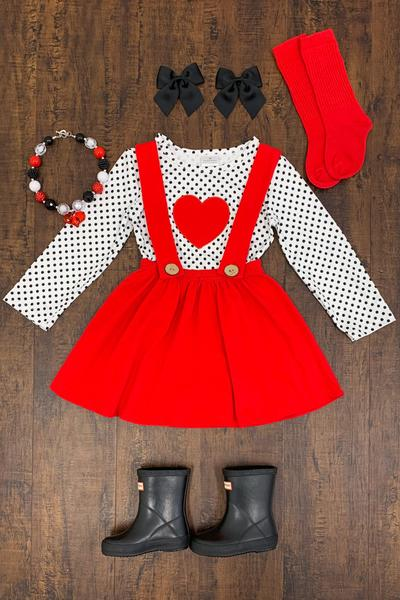 red polka dot suspender skirt- Valentines day outfit- www.mommininapinch.com