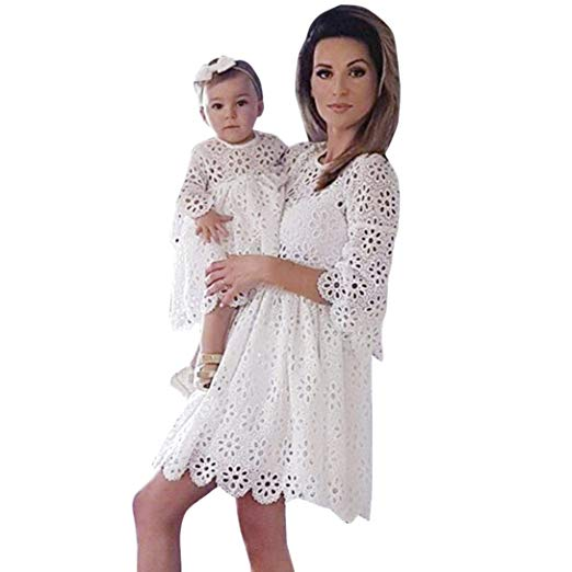 lace floral mommy and me dresses http://www.mommininapinch.com/mommy-me-dresses/