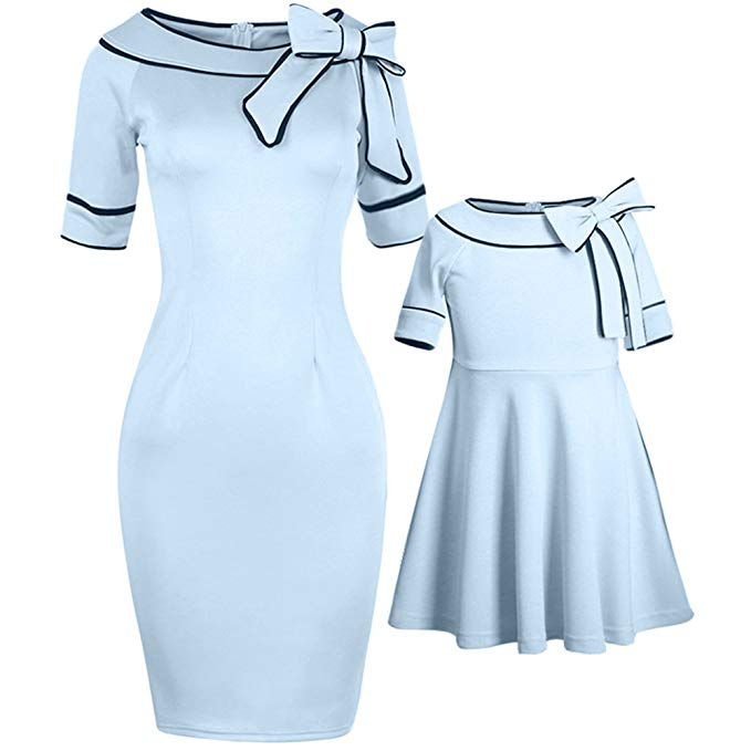 Bowknot mommy and me dresses http://www.mommininapinch.com/mommy-me-dresses/