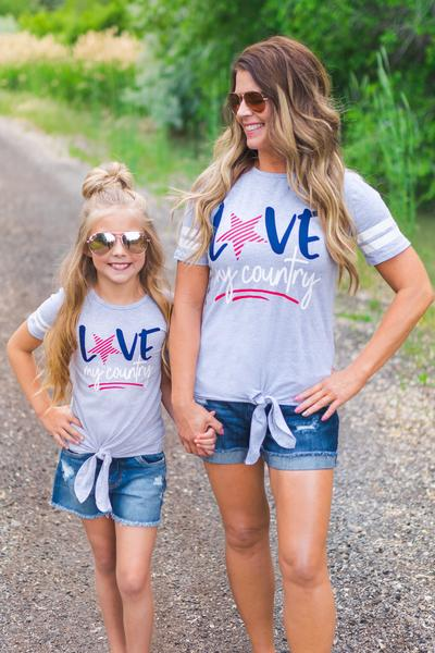 Love my country Mommy and me t-shirt-www.mommininapinch.com