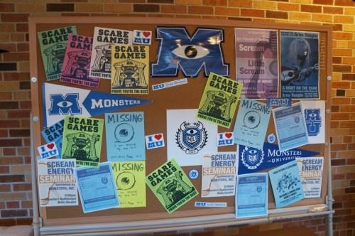 Bulletin Board in Monsters University Student Lounge