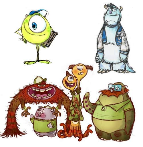 Monsters University Sketches and Early Drawings