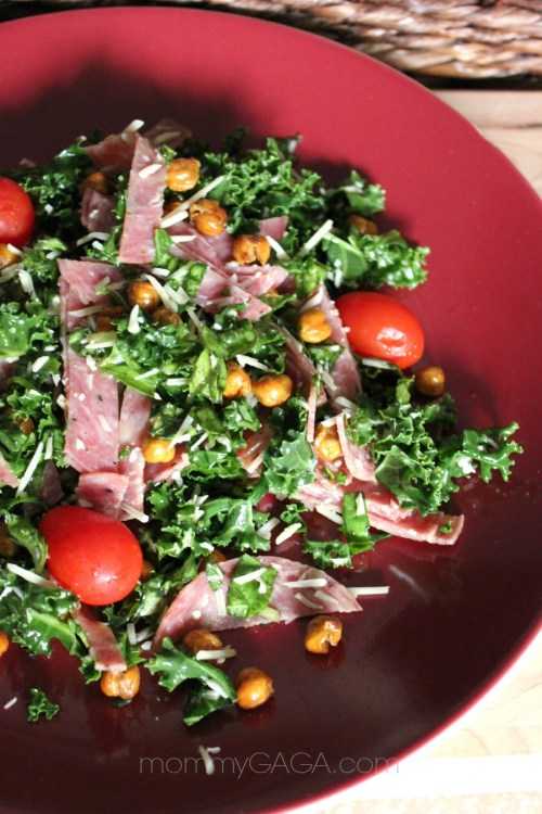 Kale Salami and Roasted Garbanzo Bean Salad