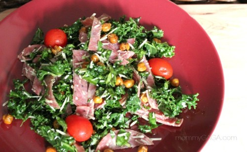 Kale, Salami and Roasted Garbanzo Bean Salad