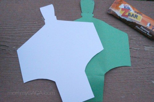 Clif Kid Z Bar Halloween costume, Frankenstein cut out stencil