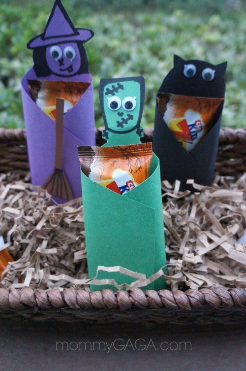 Kids Halloween paper food crafts, dressed up Clif Kids Frankenstein, Witch, Bat