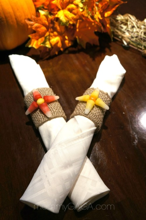 DIY Candy Corn Halloween Napkin Rings