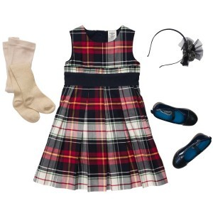 Oshkosh Girls Plaid Sateen Dress