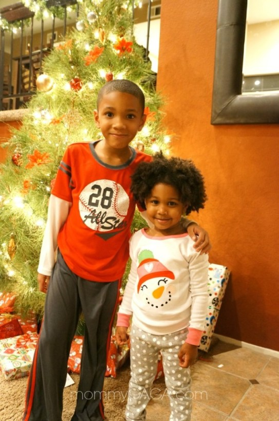 Kids wearing Carter's Christmas Winter Pajamas
