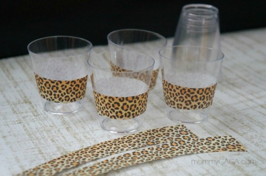 Jungle Party Decor, Small cups with leopard wrap