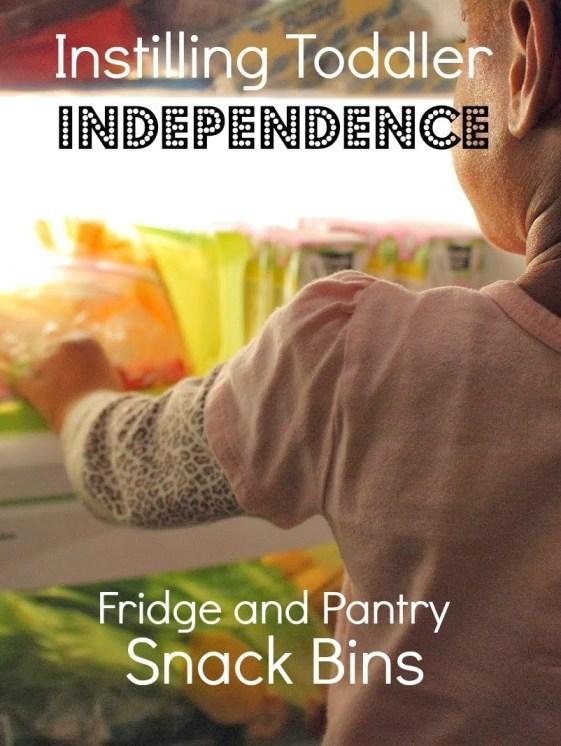 Toddler Independence, DIY Refrigerator and Pantry Snacks Bins