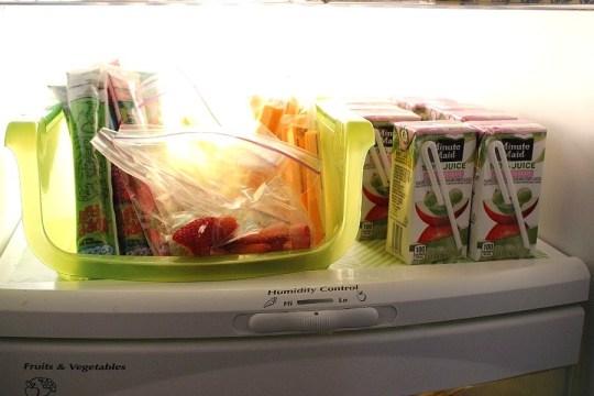 toddler snacks in the refrigerator