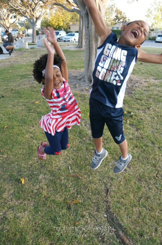 Kids jumping in their Jumping Beans for Kohl's Disney Apparel
