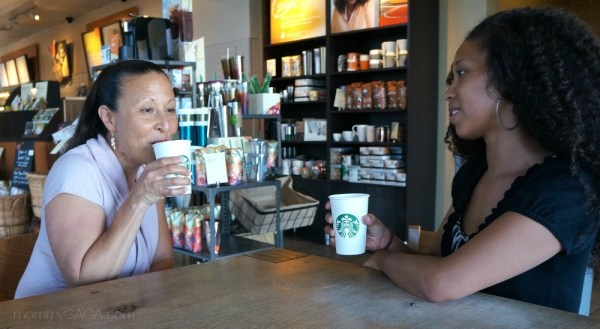 Chatting over a cup of tea at Starbucks