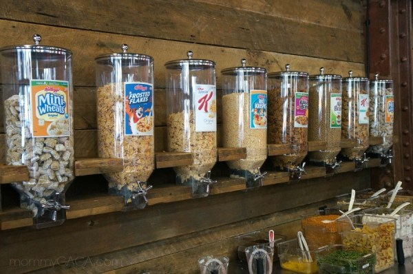 Cereal varieties at the Kellogg's Recharge Bar, New York