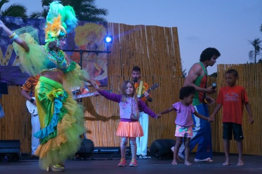 Kids dance on stage at the Bahia Carnaval
