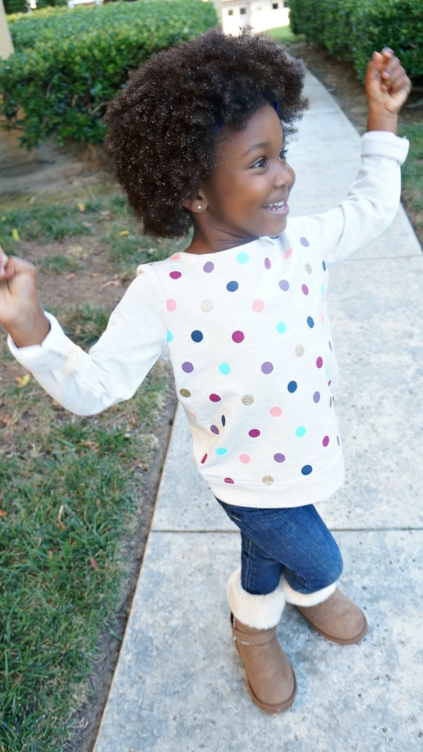 Girls fall outfit, light polka dot sweater and boots
