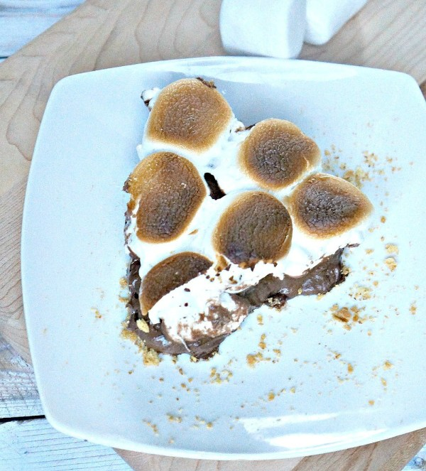 Sliced No Bake Peanut Butter S'mores Pie