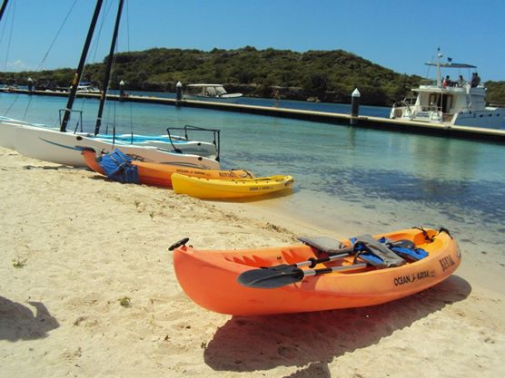 Curacao, kayaks ready for the taking at the Hyatt Hotel private beach