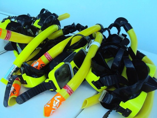 Curacao, snorkels and masks on a catamaran snorkeling tour