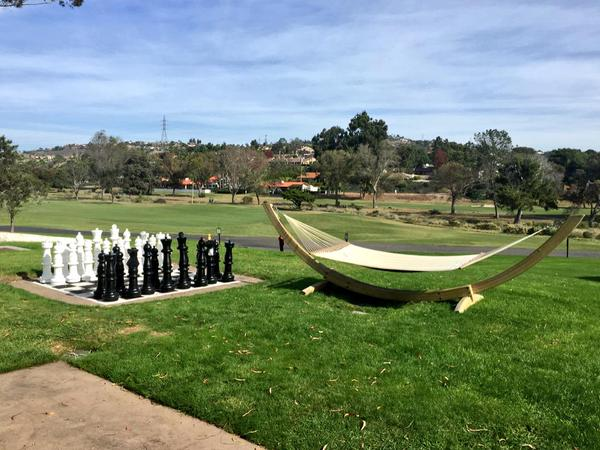 Life size chess game and swinging hammock at the Omni La Costa Resort, Carlsbad, CA