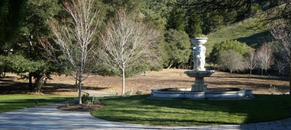 Skywalker Ranch, water fountain in the backyard of the main house