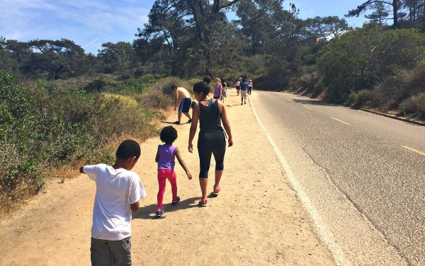 Beach hike for kids, Going up the mountain